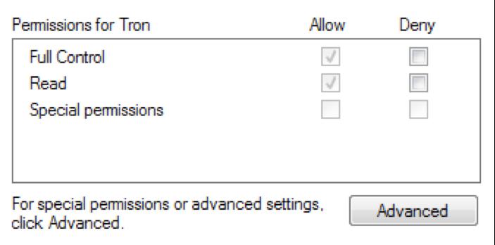"""図8 """"Office test""""レジストリキーに対する現在のユーザーのデフォルトの権限"""