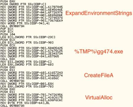 図11 シェルコードに埋め込まれたデータ