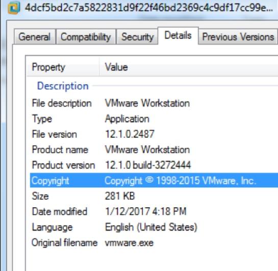 図11 – VMWareワークステーションとして成りすましたアプリケーション メタデータ