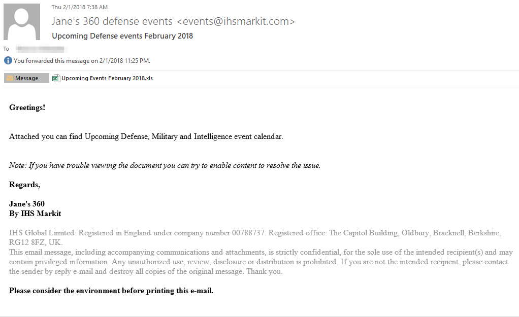 図1 攻撃キャンペーンに使用されたスピア フィッシング メール
