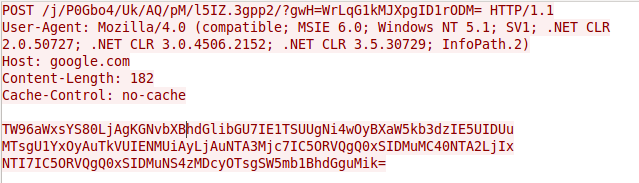 図 7 インターネット アクセスを確認するためにSofacyCarberpトロイの木馬からGoogleに送信される最初のリクエスト